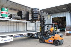 The new Auto Mezz Deck from Freighter can easily fit four standard pallets with room to spare and no need for side shift.